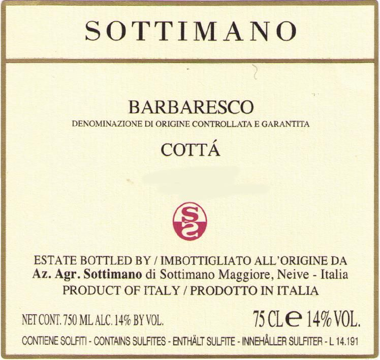 Sottimano Barbaresco Cotta 2017  Front Label