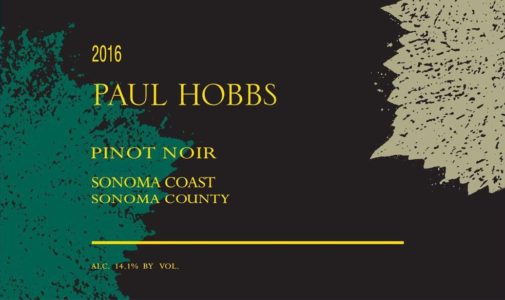 Paul Hobbs Sonoma Coast Pinot Noir 2016 Front Label