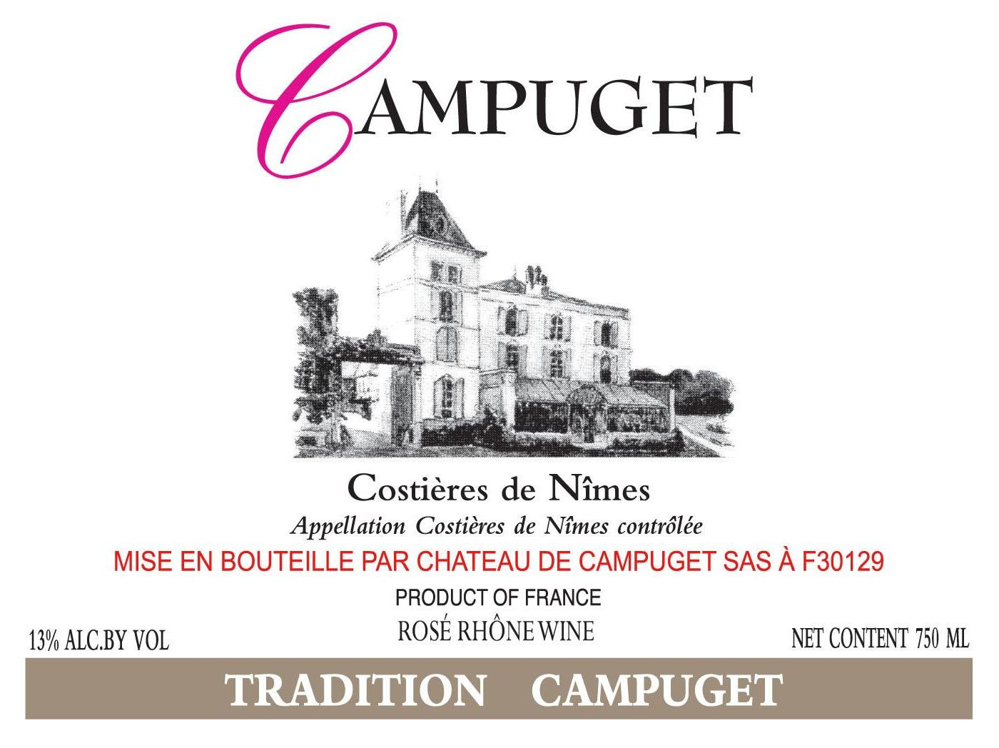 Chateau de Campuget Tradition Rose 2018 Front Label