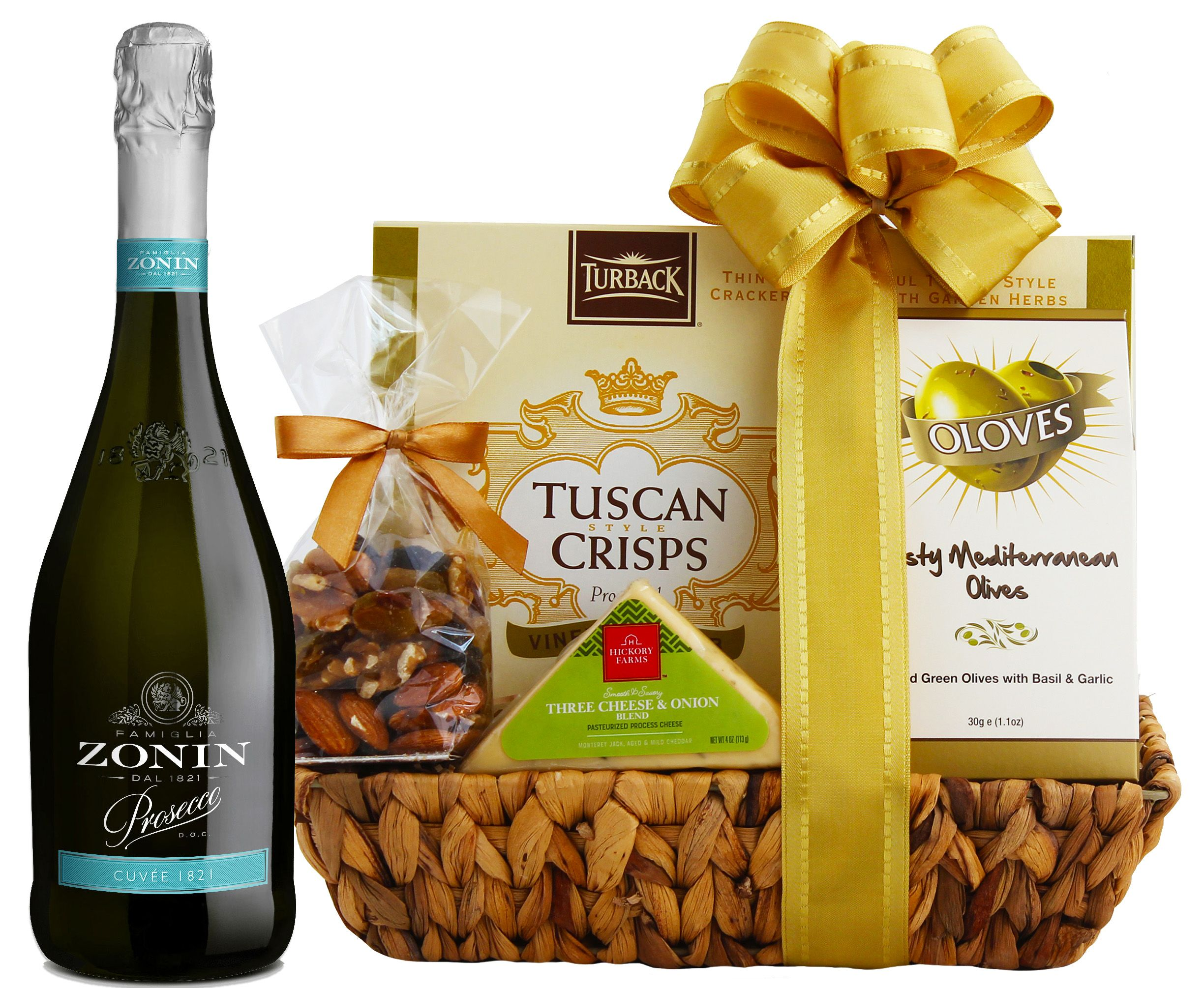 wine.com 90 Point Prosecco & Cheese Gift Basket  Gift Product Image
