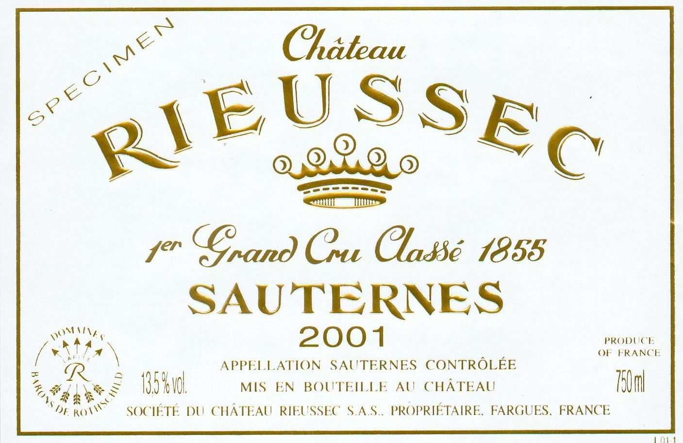 Chateau Rieussec Sauternes (half-bottle) 2001  Front Label