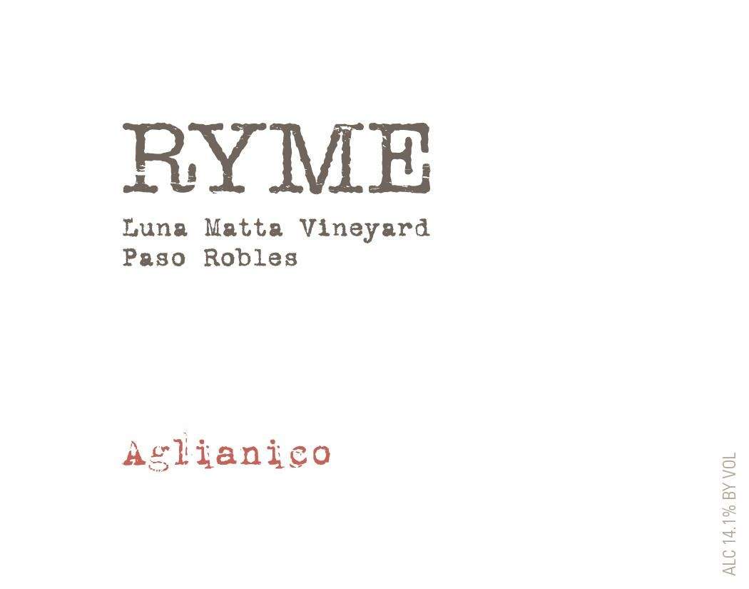 Ryme Luna Matta Vineyard Aglianico 2016  Front Label