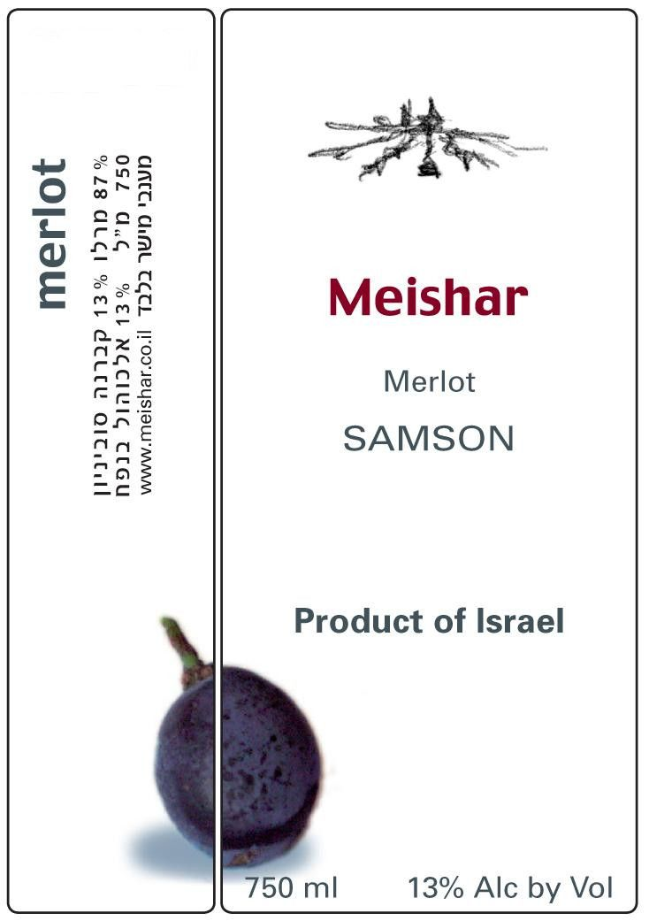 Meishar Winery Merlot 2011  Front Label