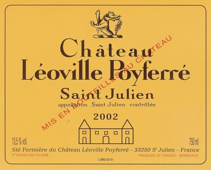 Chateau Leoville Poyferre  2002  Front Label