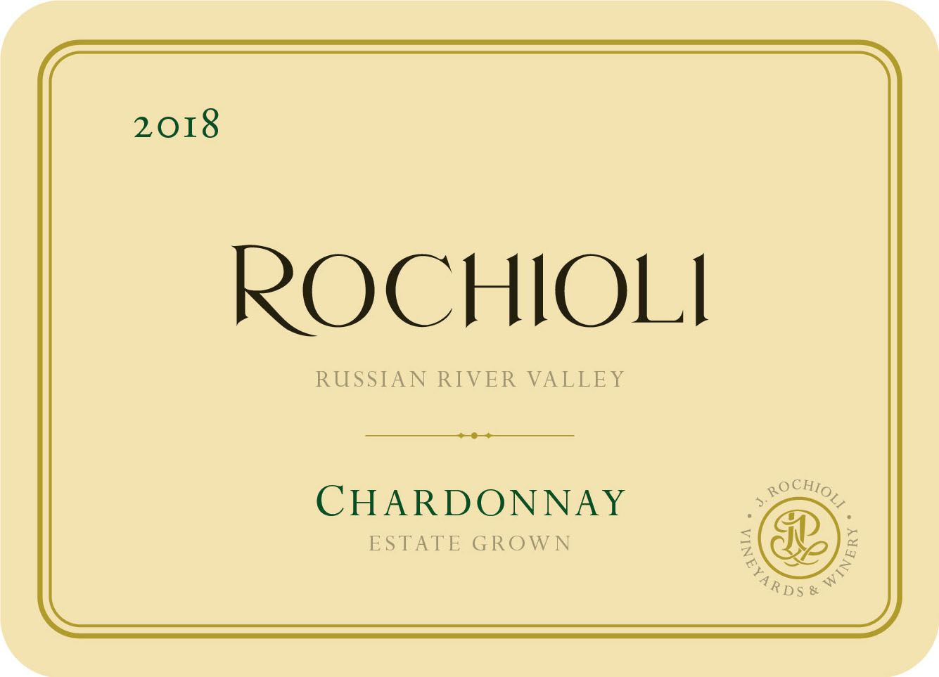 Rochioli Estate Chardonnay 2018  Front Label