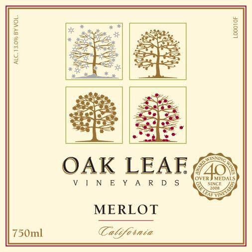 Oak Leaf Vineyards Merlot  Front Label