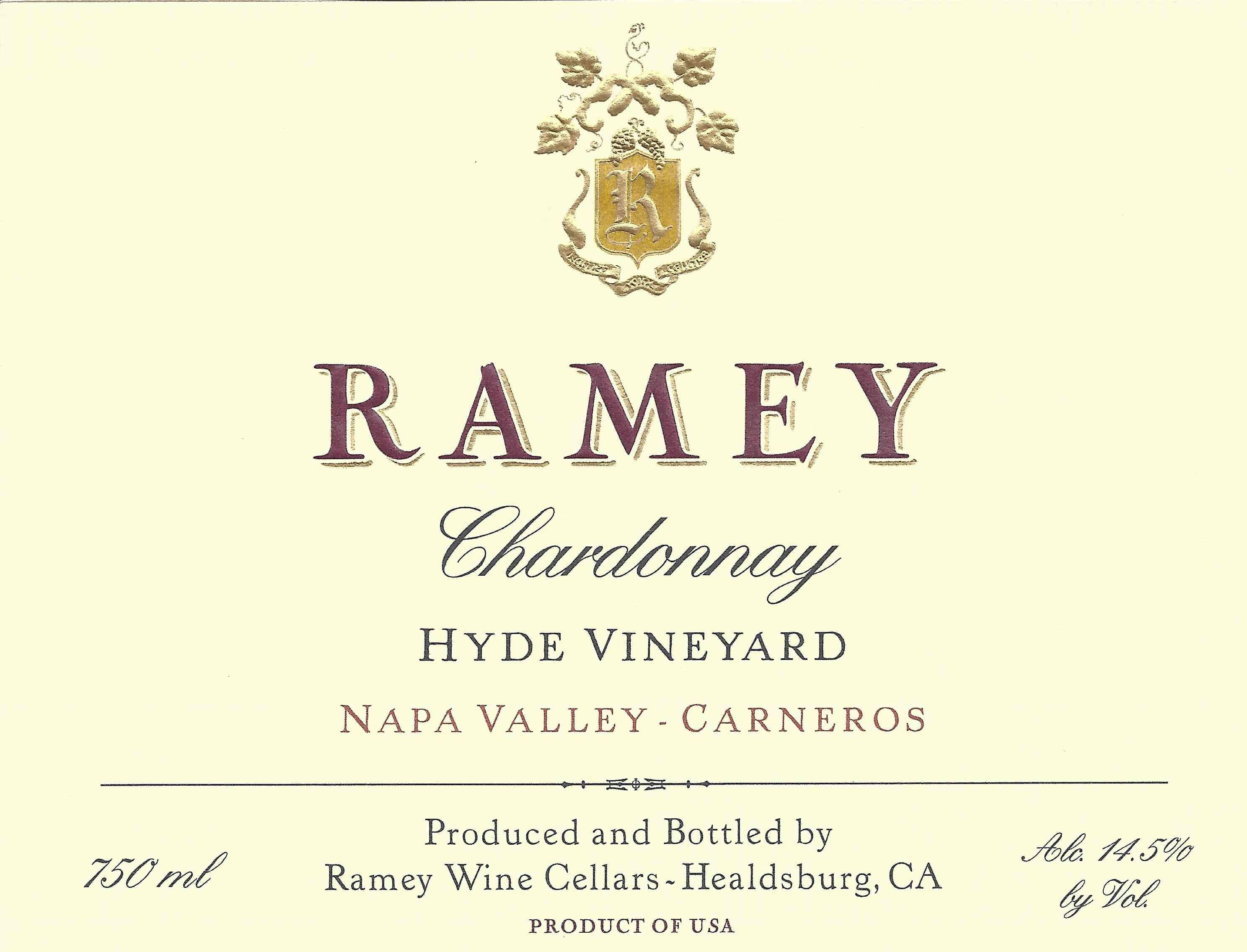 Ramey Hyde Vineyard Chardonnay 2016  Front Label