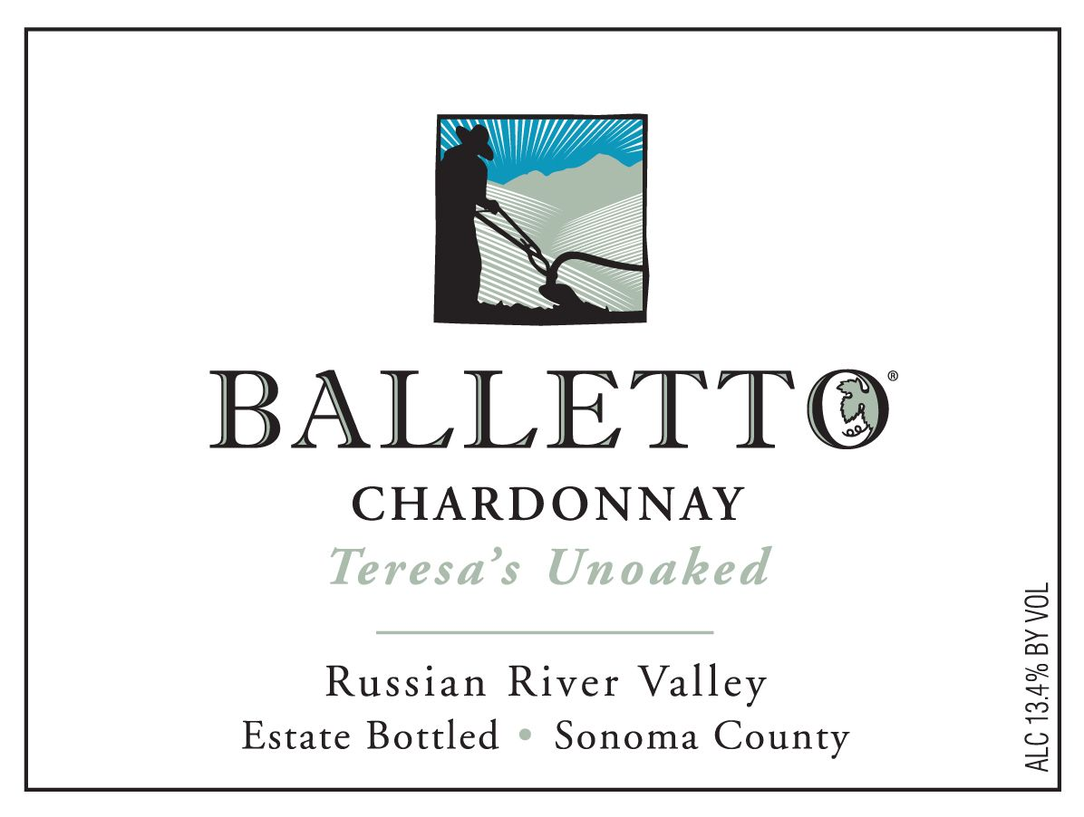Balletto Winery Teresa's Unoaked Chardonnay 2019  Front Label