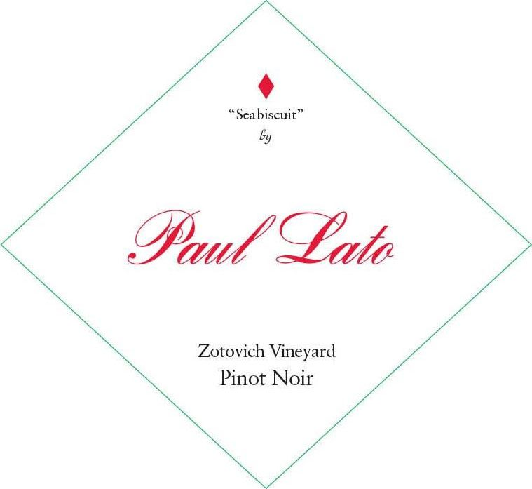 Paul Lato Seabiscuit Zotovich Vineyard Pinot Noir 2018  Front Label