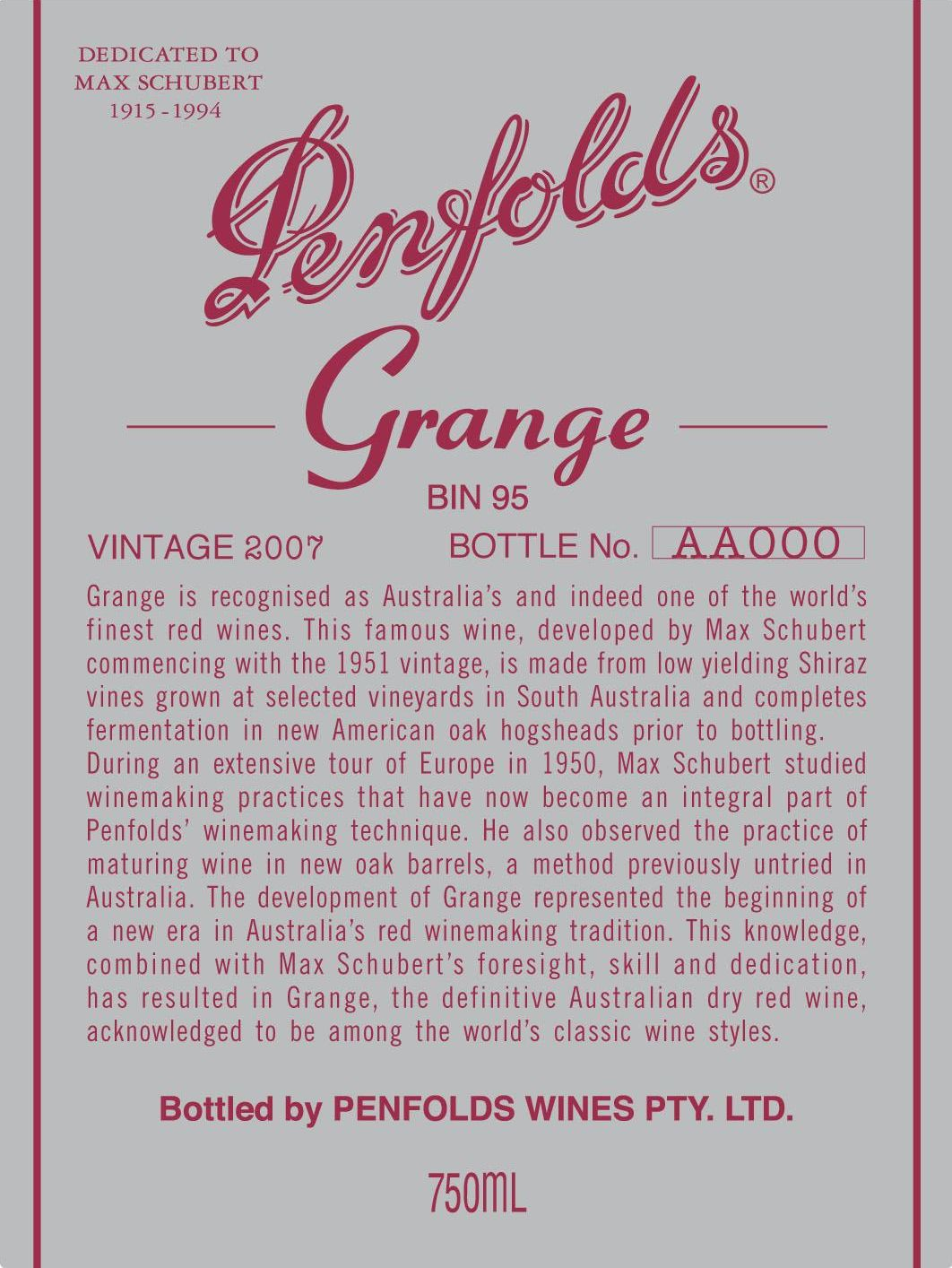 Penfolds Grange 2007  Front Label