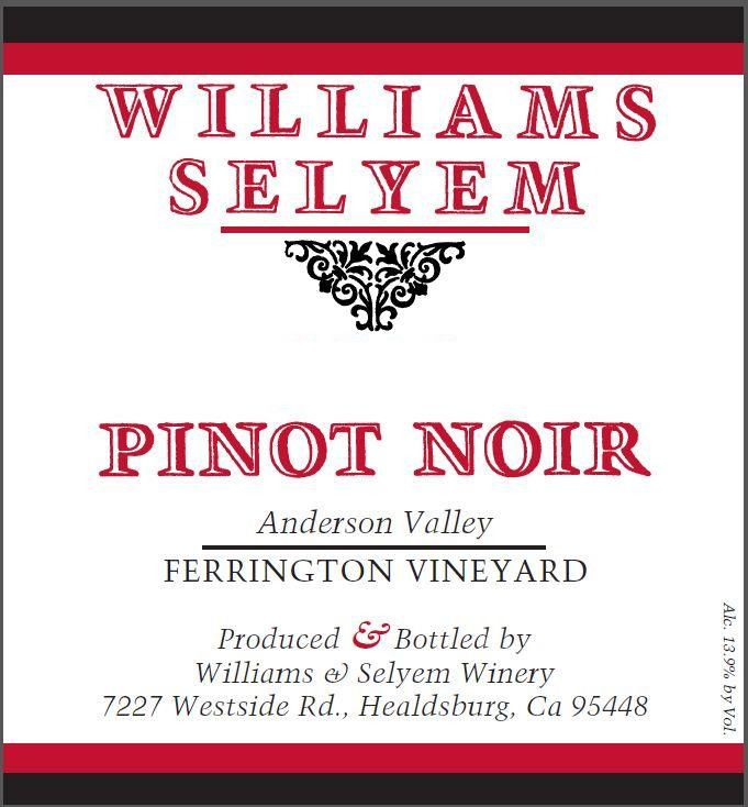 Williams Selyem Ferrington Vineyard Pinot Noir 2017  Front Label
