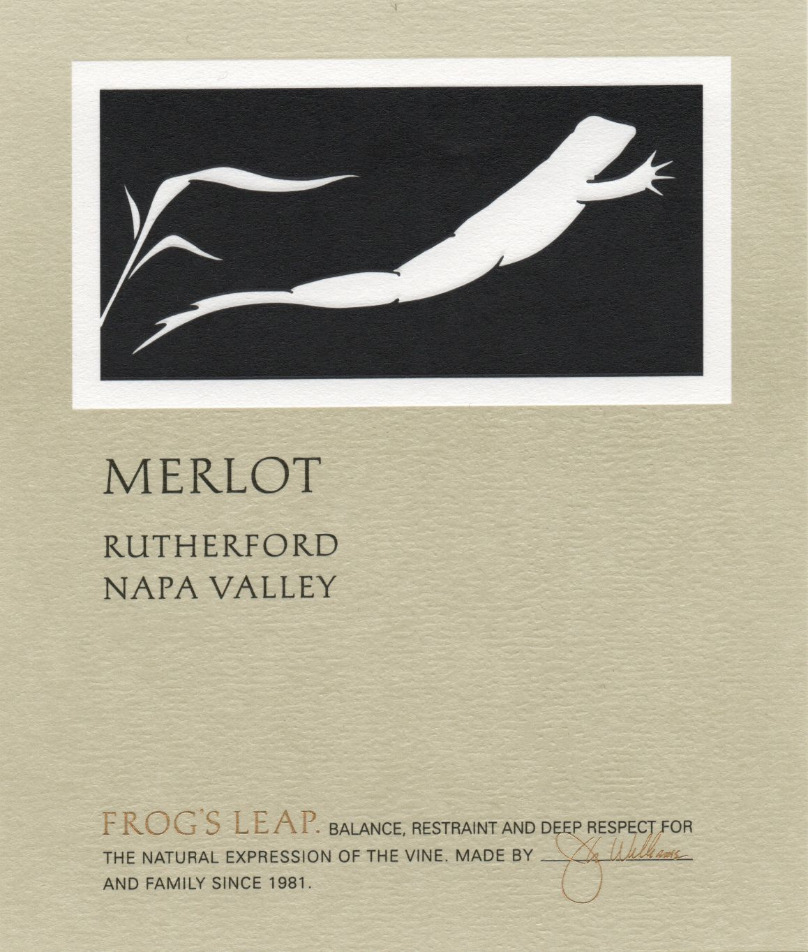 Frog's Leap Merlot (375ML half-bottle) 2018  Front Label