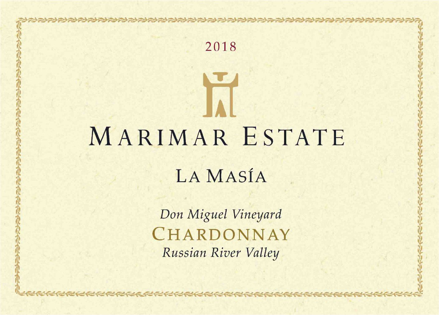 Marimar Estate Don Miguel Vineyard La Masia Chardonnay 2018  Front Label