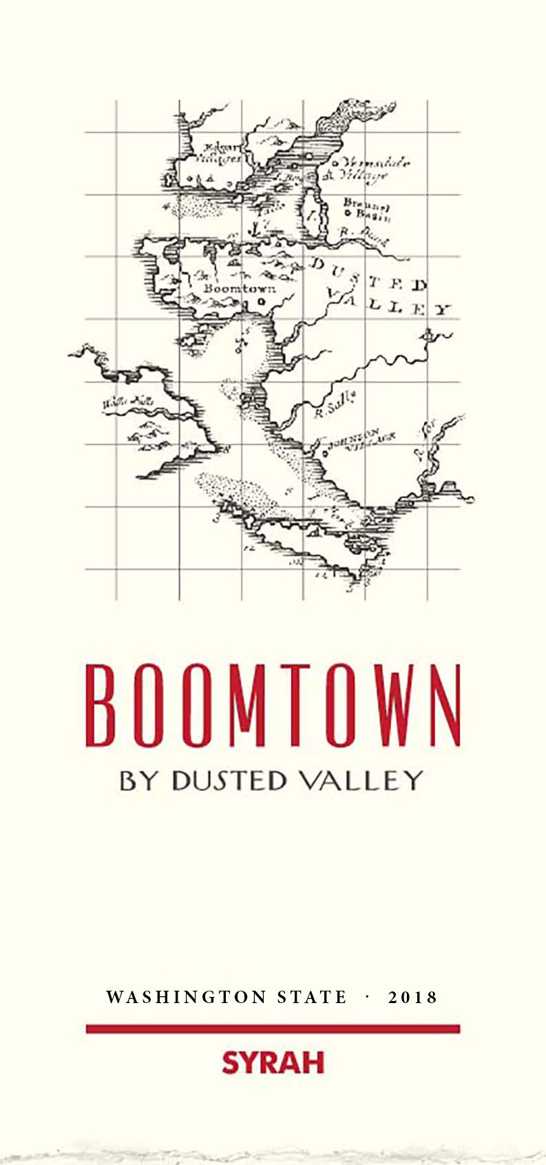 Boomtown by Dusted Valley Syrah 2018  Front Label
