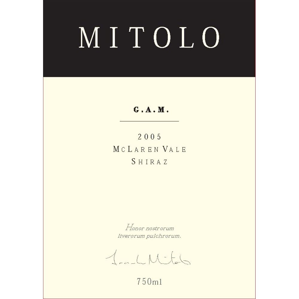 Mitolo G.A.M. (6 Liter) 2005  Front Label