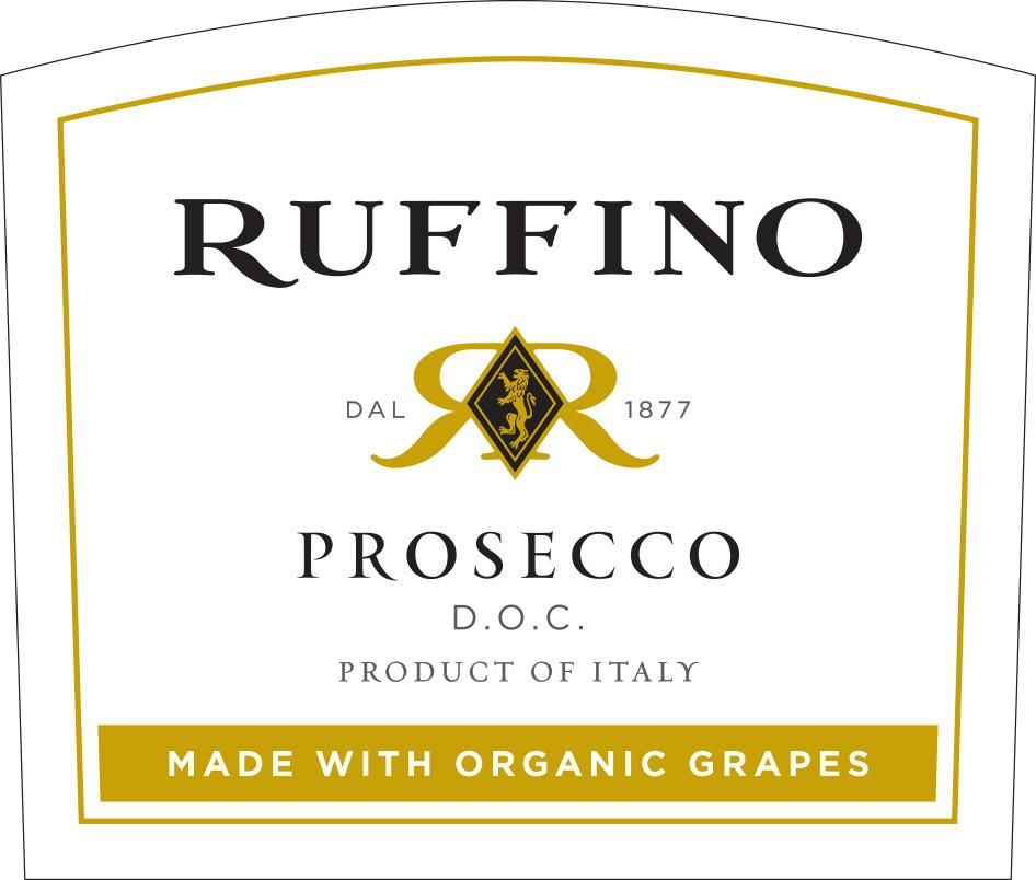 Ruffino Prosecco Made with Organic Grapes  Front Label