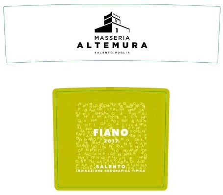 Masseria Altemura Salento Fiano 2017  Front Label