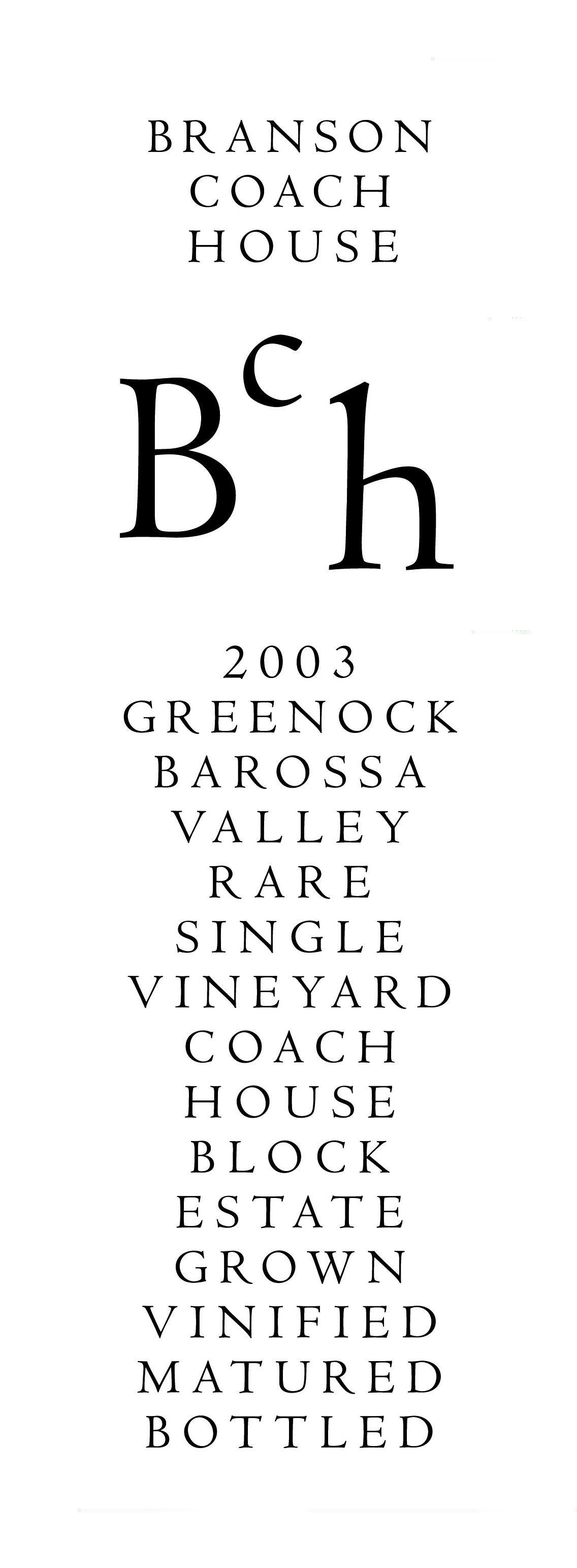 Branson Coach House Shiraz Barossa Valley Greenock Block 2003 Front Label