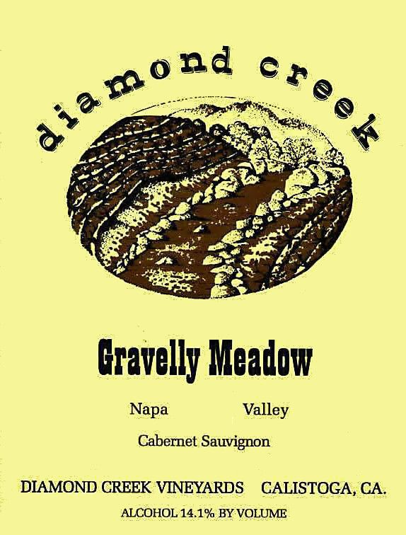 Diamond Creek Gravelly Meadow Cabernet Sauvignon (Wine Stained Label) 2000  Front Label