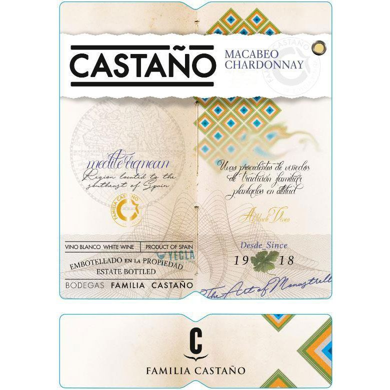 Bodegas Castano Macabeo Chardonnay 2019  Front Label
