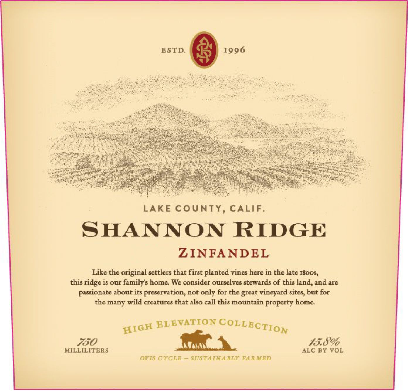 Shannon Ridge High Elevation Zinfandel 2019  Front Label