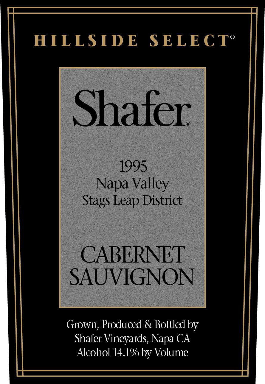 Shafer Hillside Select Cabernet Sauvignon (1.5 Liter Magnum - loose capsule) 1995  Front Label