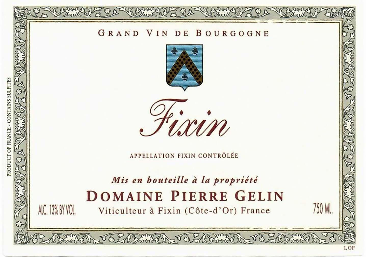 Pierre Gelin Fixin 2017  Front Label