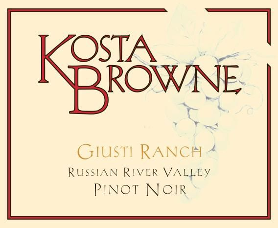 Kosta Browne Giusti Ranch Pinot Noir 2016  Front Label