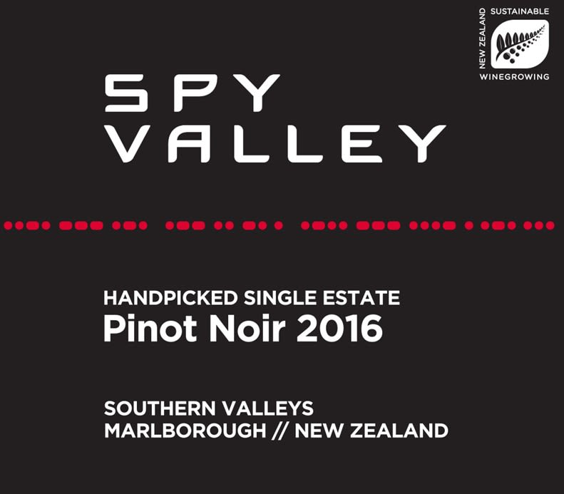 Spy Valley Southern Valleys Pinot Noir 2016  Front Label
