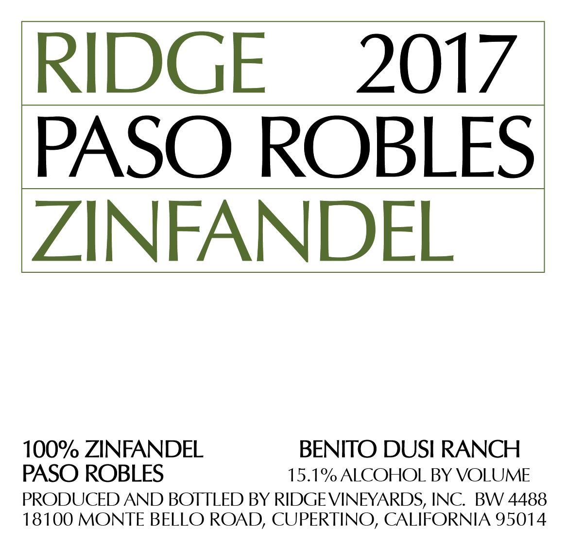 Ridge Paso Robles Zinfandel 2017 Front Label