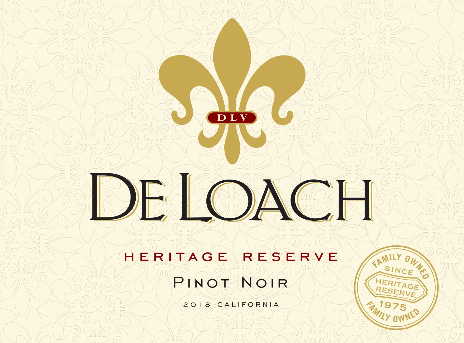 DeLoach Heritage Reserve Pinot Noir 2018 Front Label