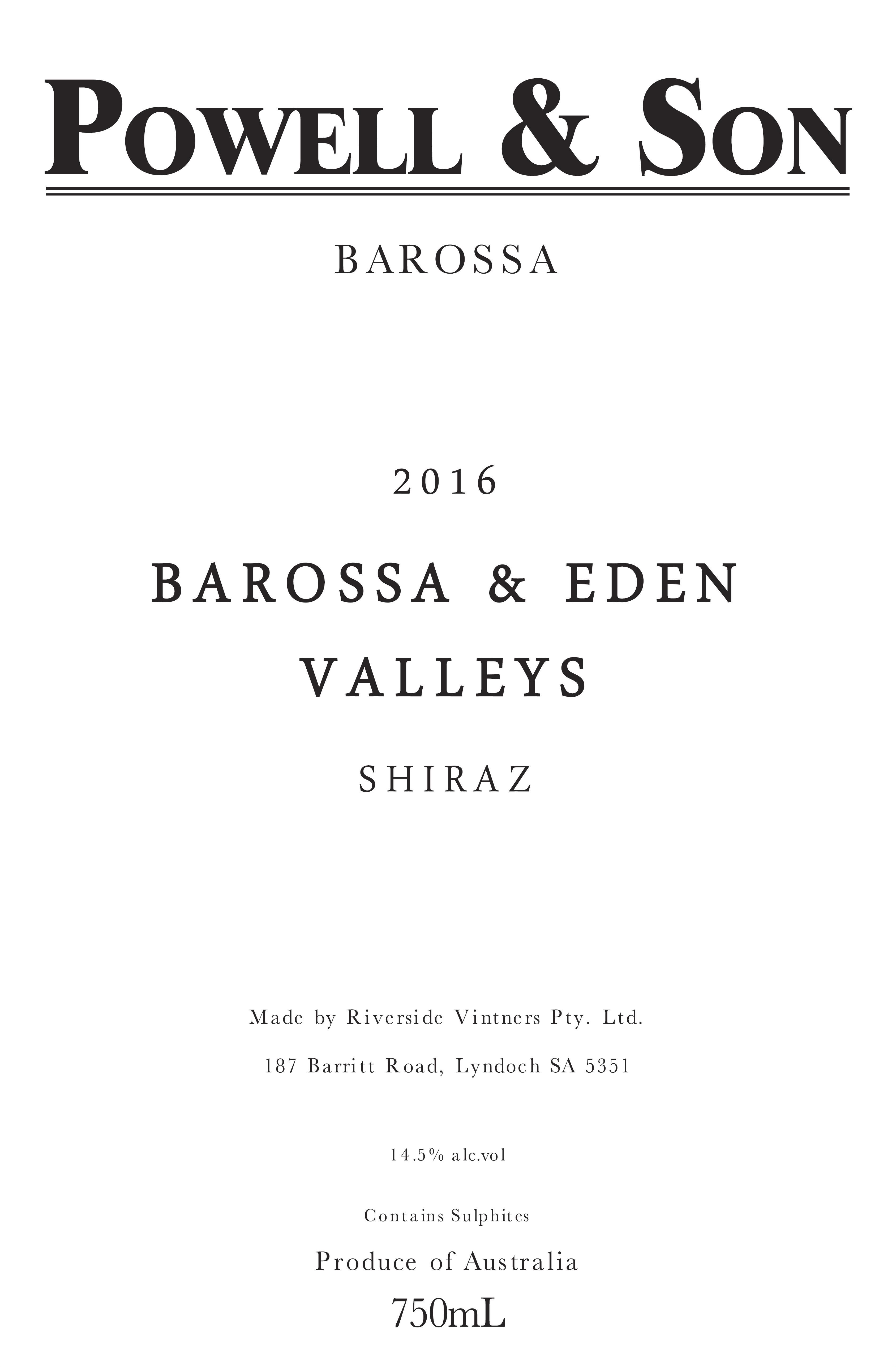 Powell & Son Barossa and Eden Valley Shiraz 2016 Front Label