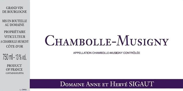 Domaine Anne et Herve Sigaut Chambolle-Musigny 2016 Front Label