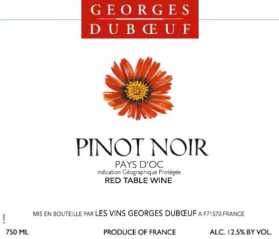 Duboeuf Pinot Noir 2017 Front Label
