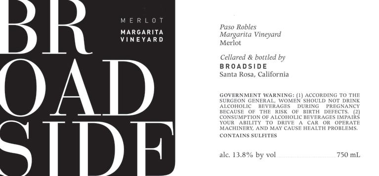 Broadside Margarita Vineyard Merlot 2017  Front Label