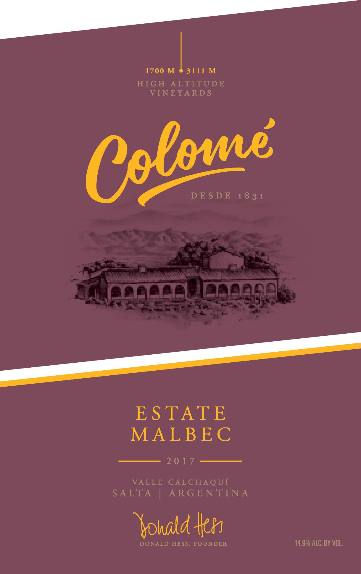 Bodega Colome Estate Malbec 2017  Front Label