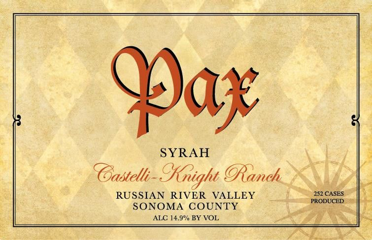 Pax Castelli-Knight Ranch Syrah 2015 Front Label