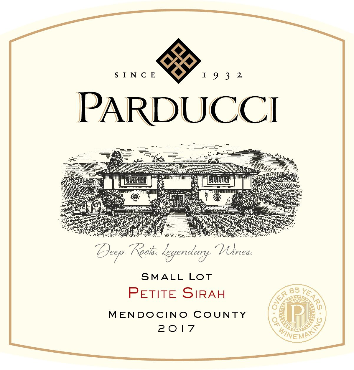Parducci Small Lot Petite Sirah 2017  Front Label