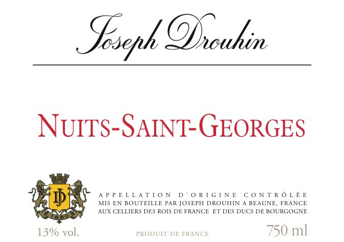 Joseph Drouhin Nuits-St-Georges 2018  Front Label