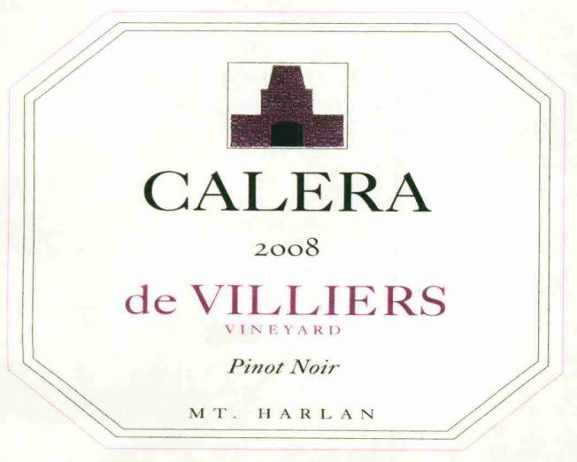 Calera de Villiers Vineyard Pinot Noir (375ML half-bottle) 2008 Front Label