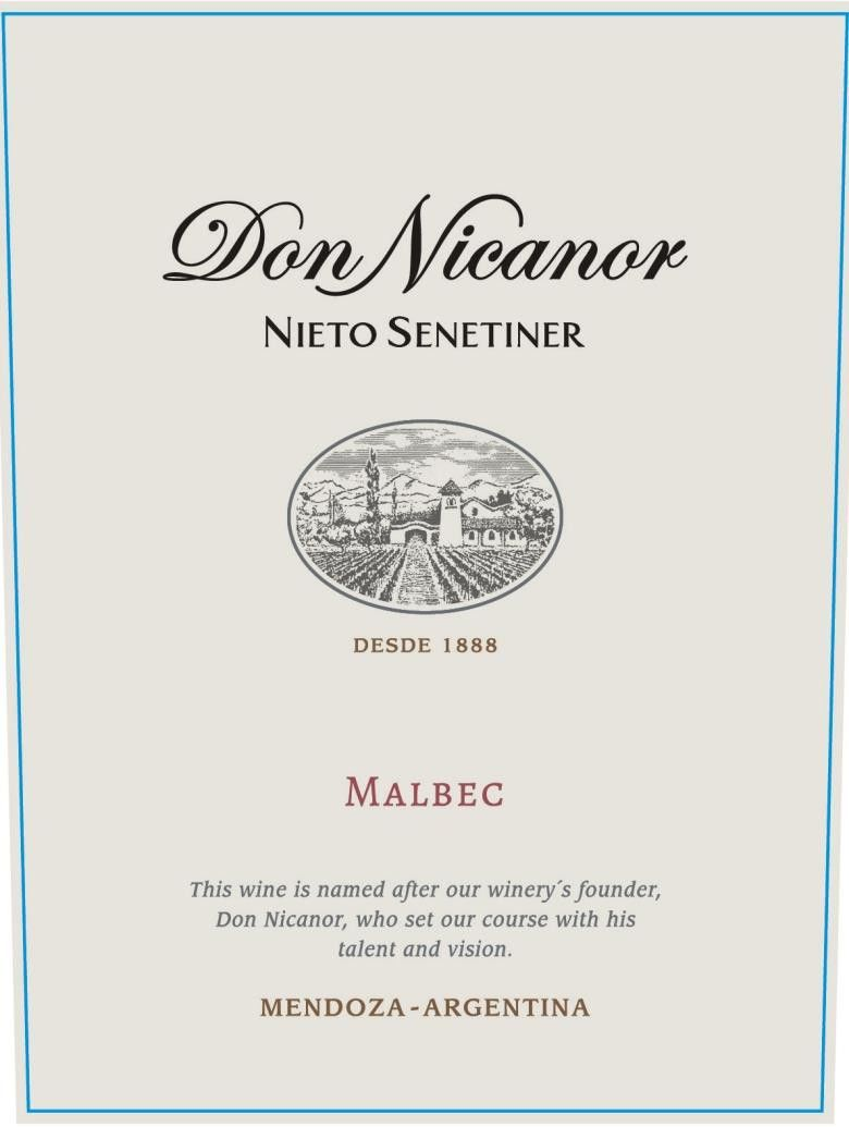 Nieto Senetiner Don Nicanor Malbec 2017 Front Label