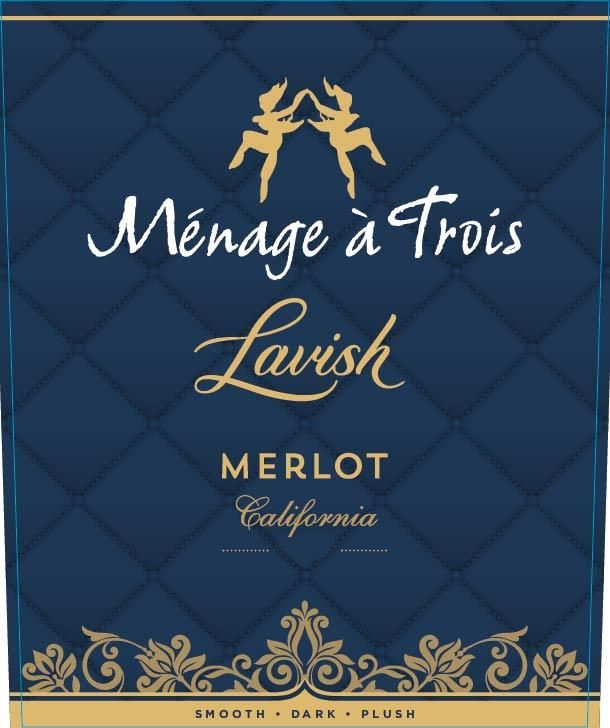 Menage a Trois Lavish Merlot 2017 Front Label