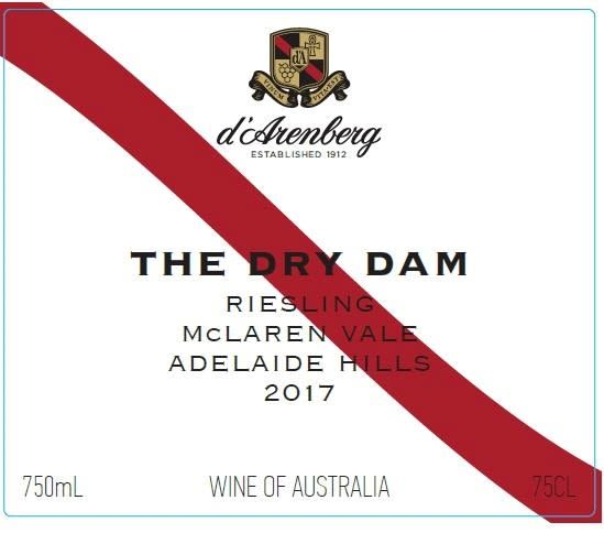 d'Arenberg The Dry Dam Riesling 2017  Front Label