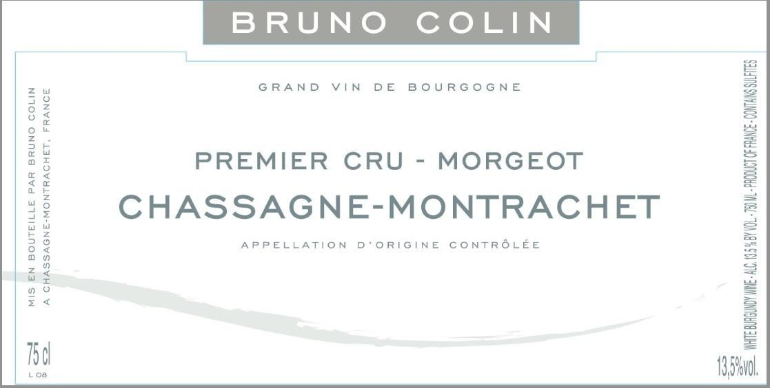 Bruno Colin Chassagne Montrachet Premier Cru Morgeot 2016  Front Label