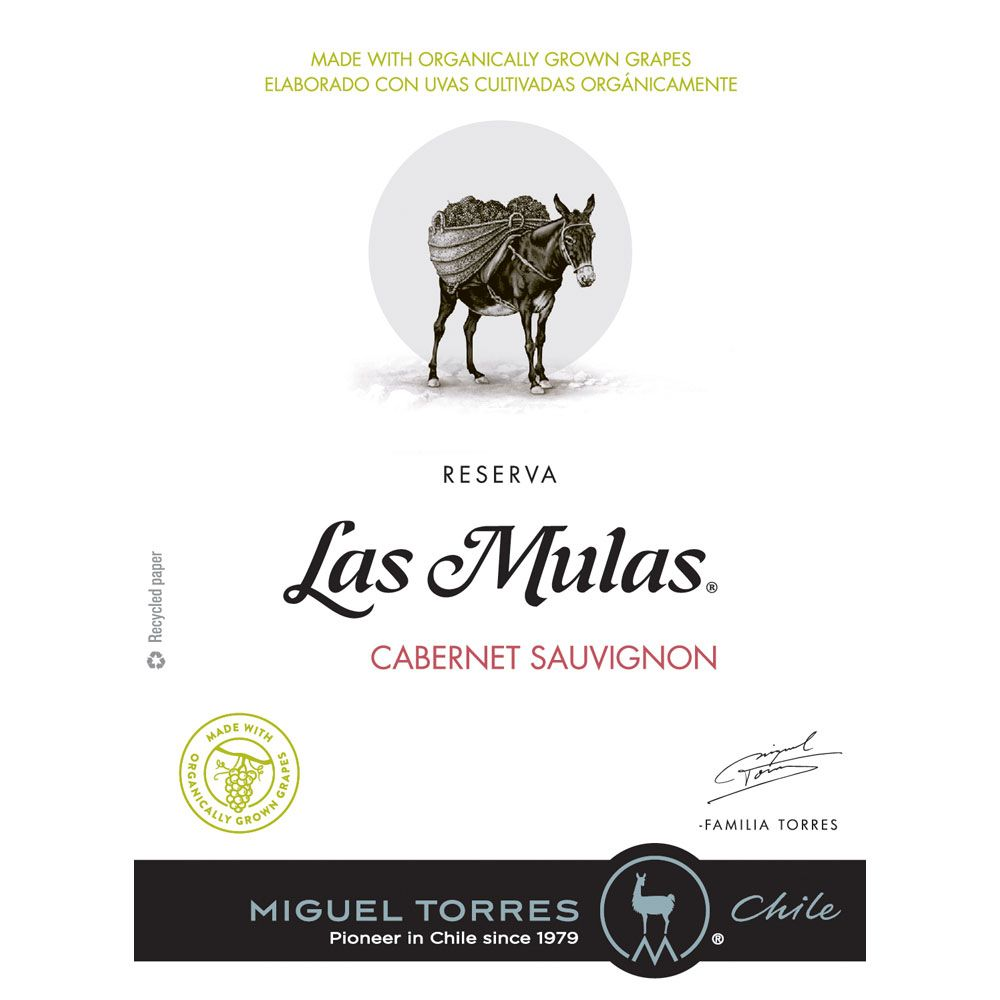 Miguel Torres Las Mulas Organically Grown Cabernet Sauvignon Reserva 2018  Front Label