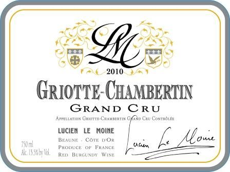 Lucien Le Moine Griotte-Chambertin Grand Cru 2010  Front Label