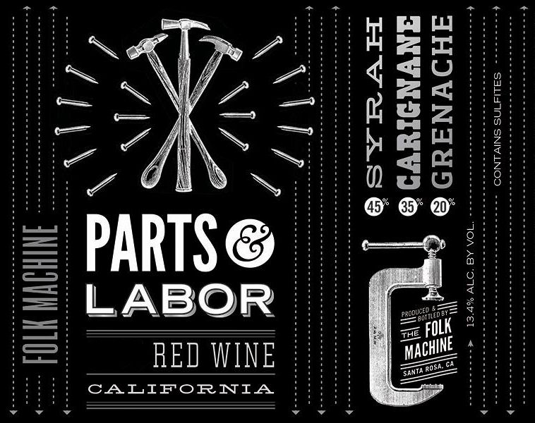 Folk Machine Parts and Labor Red Blend 2018  Front Label