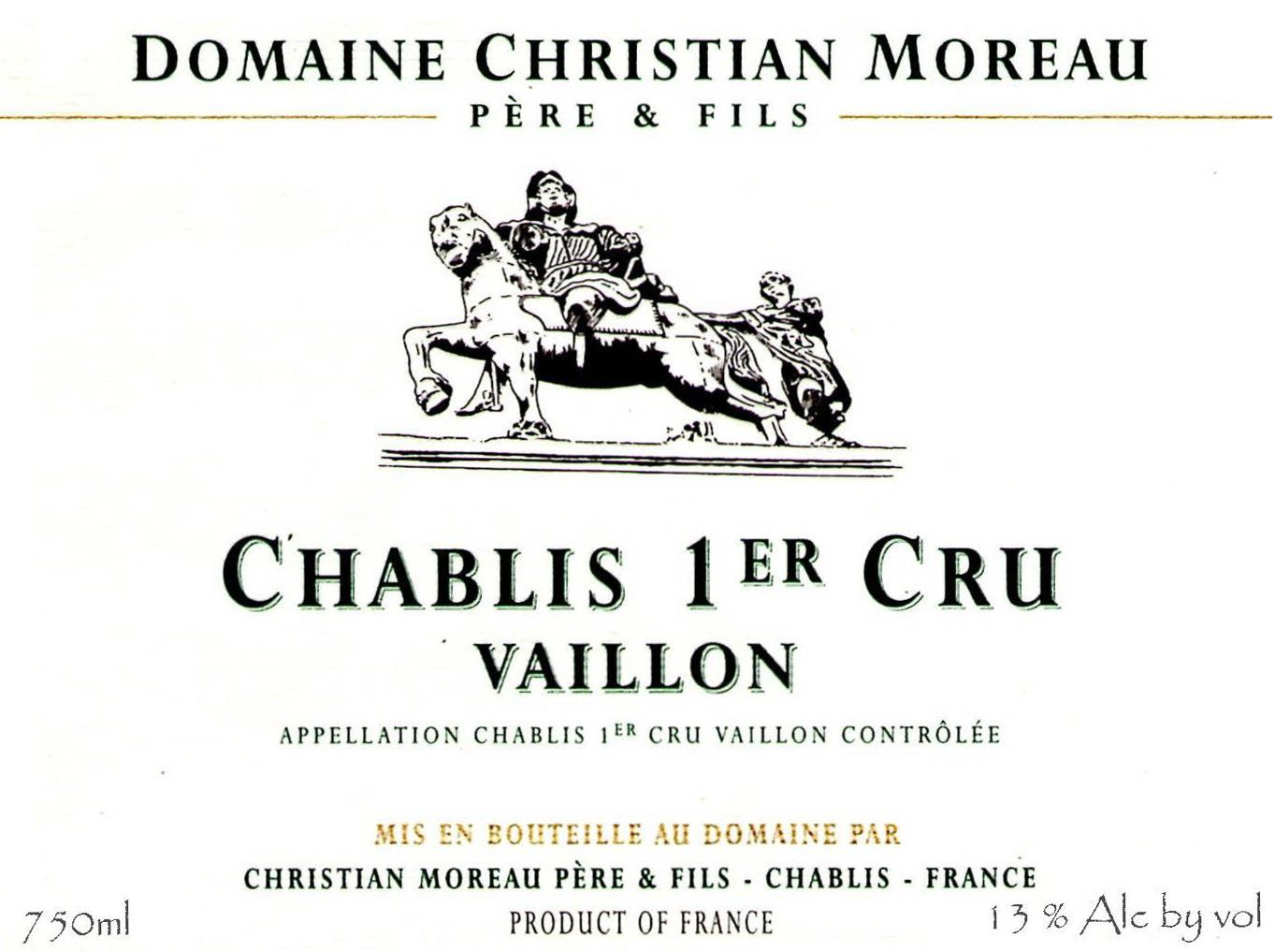 Christian Moreau Chablis Vaillon Premier Cru (375ML half-bottle) 2017 Front Label