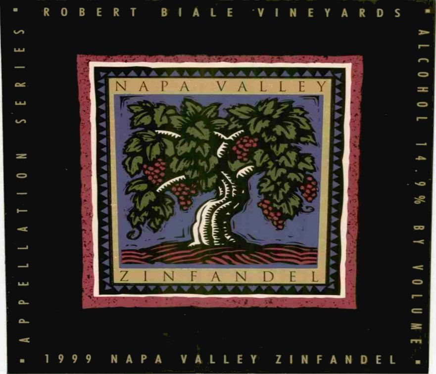 Robert Biale Vineyards Zinfandel 1999  Front Label