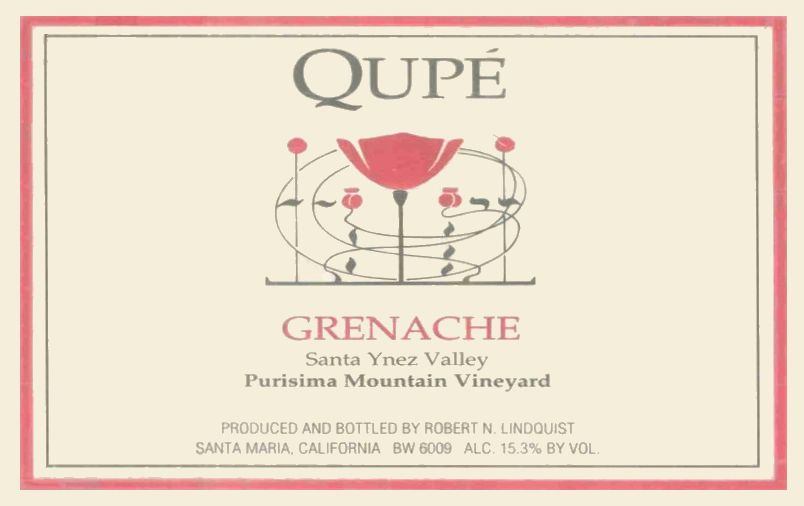Qupe Purisima Mountain Vineyard Grenache 2011  Front Label
